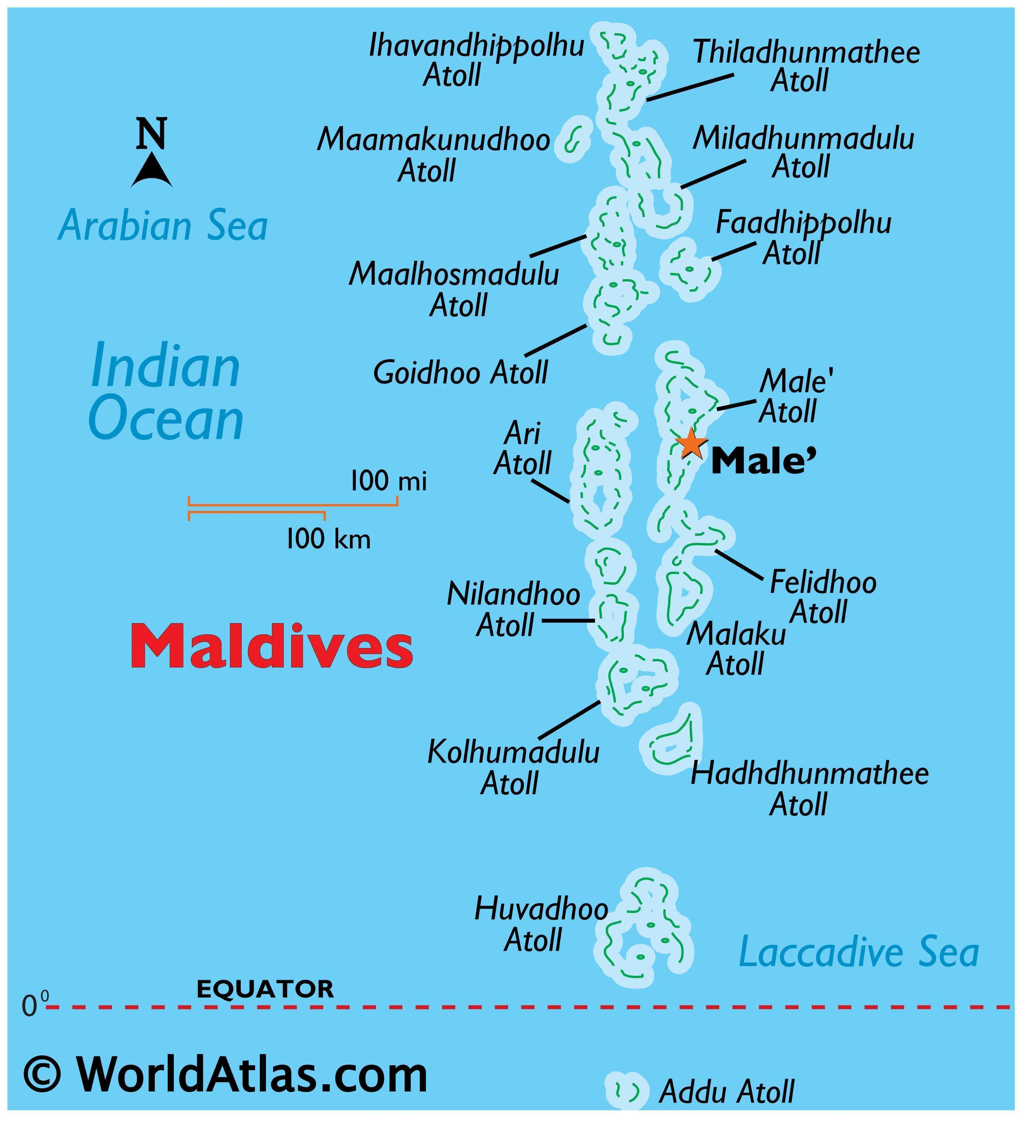 Physical Map of Maldives showing its atolls and the capital of Male.