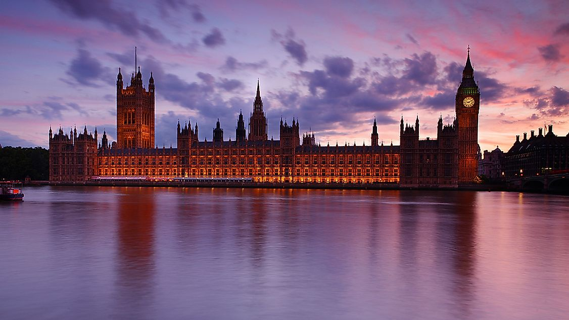 The British Parliament at dusk.