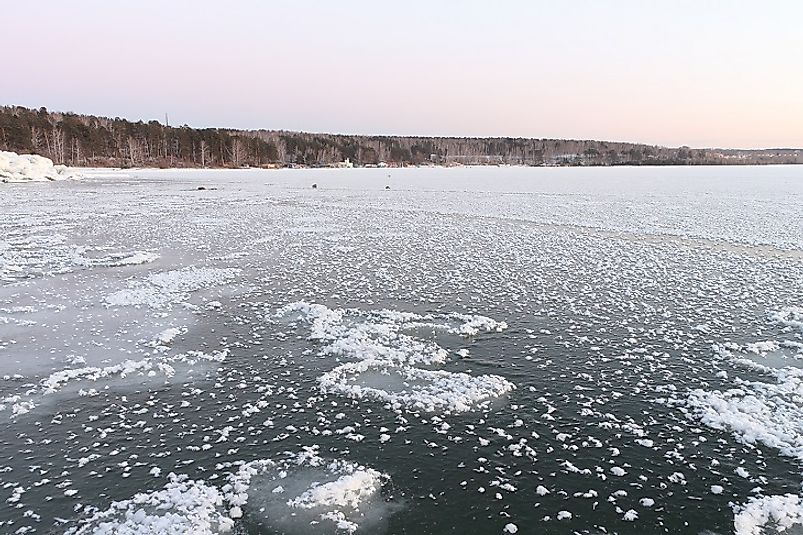 Wintertime ice forming upon the surface of the Ob River.