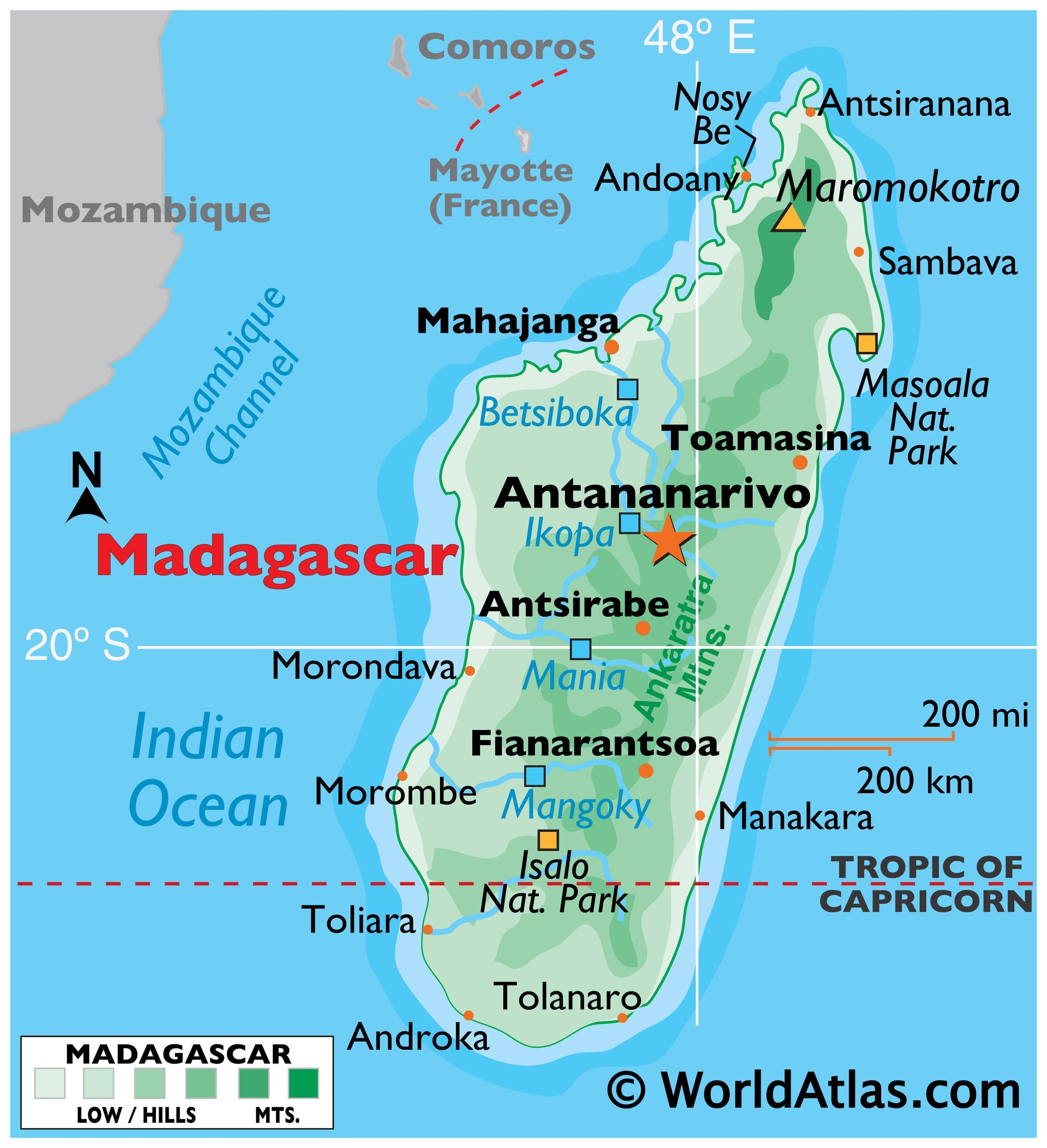 Physical Map of Madagascar displaying state boundaries, relief, highest point, important cities, and major rivers.