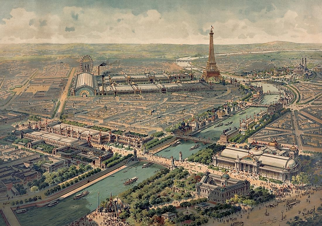 An aerial view of Exposition Universelle, held in 1900 in Paris.