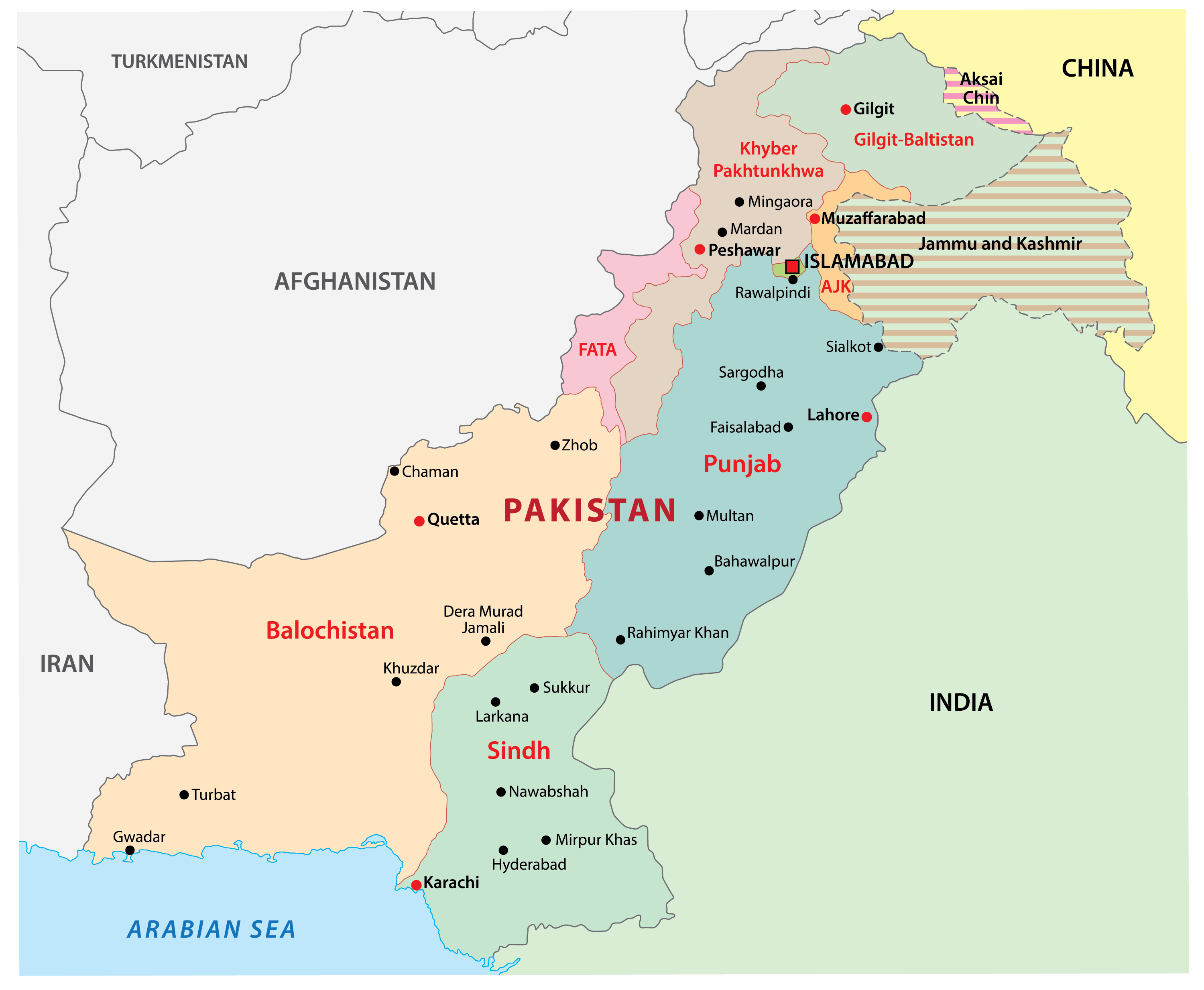 Political Map of Pakistan showing the major administrative divisions and the capital city of Islamabad.