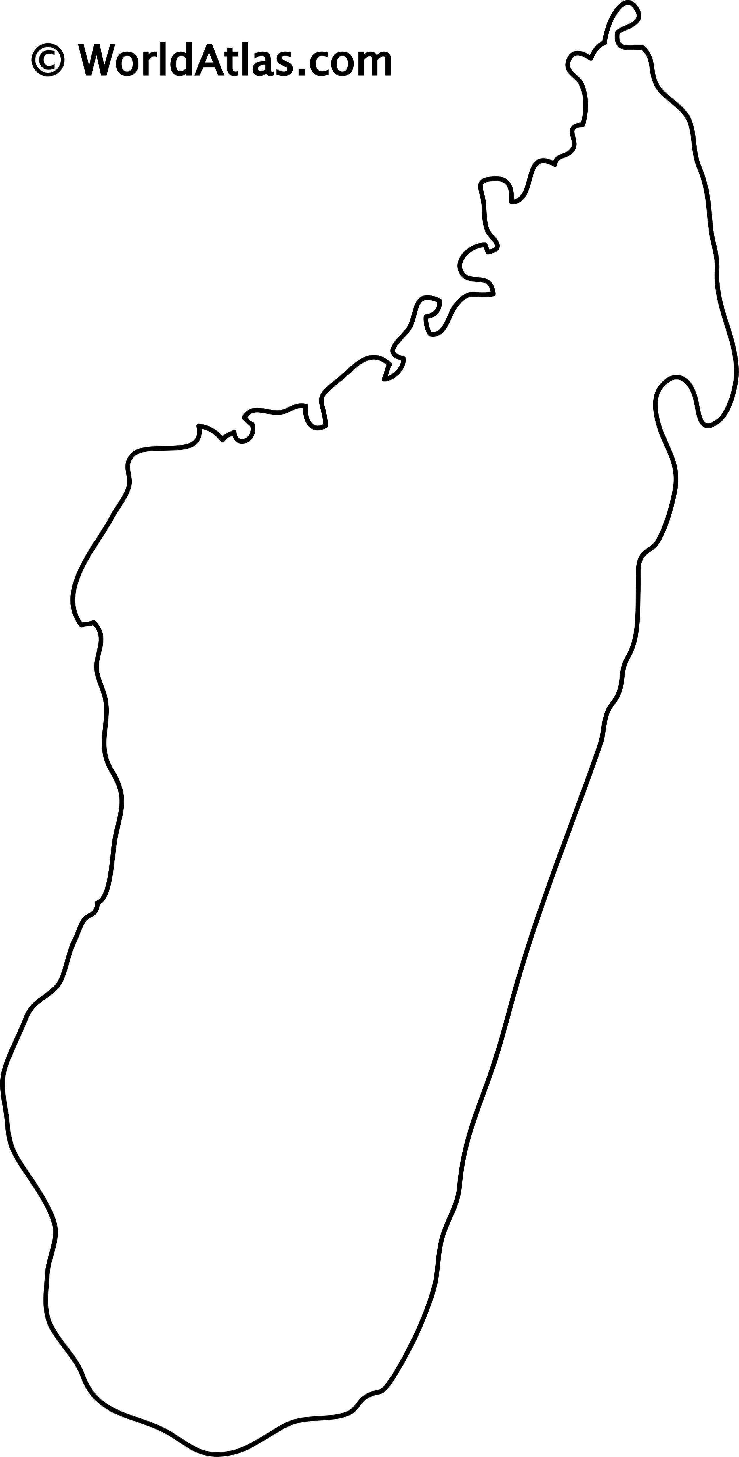 Blank Outline Map of Madagascar
