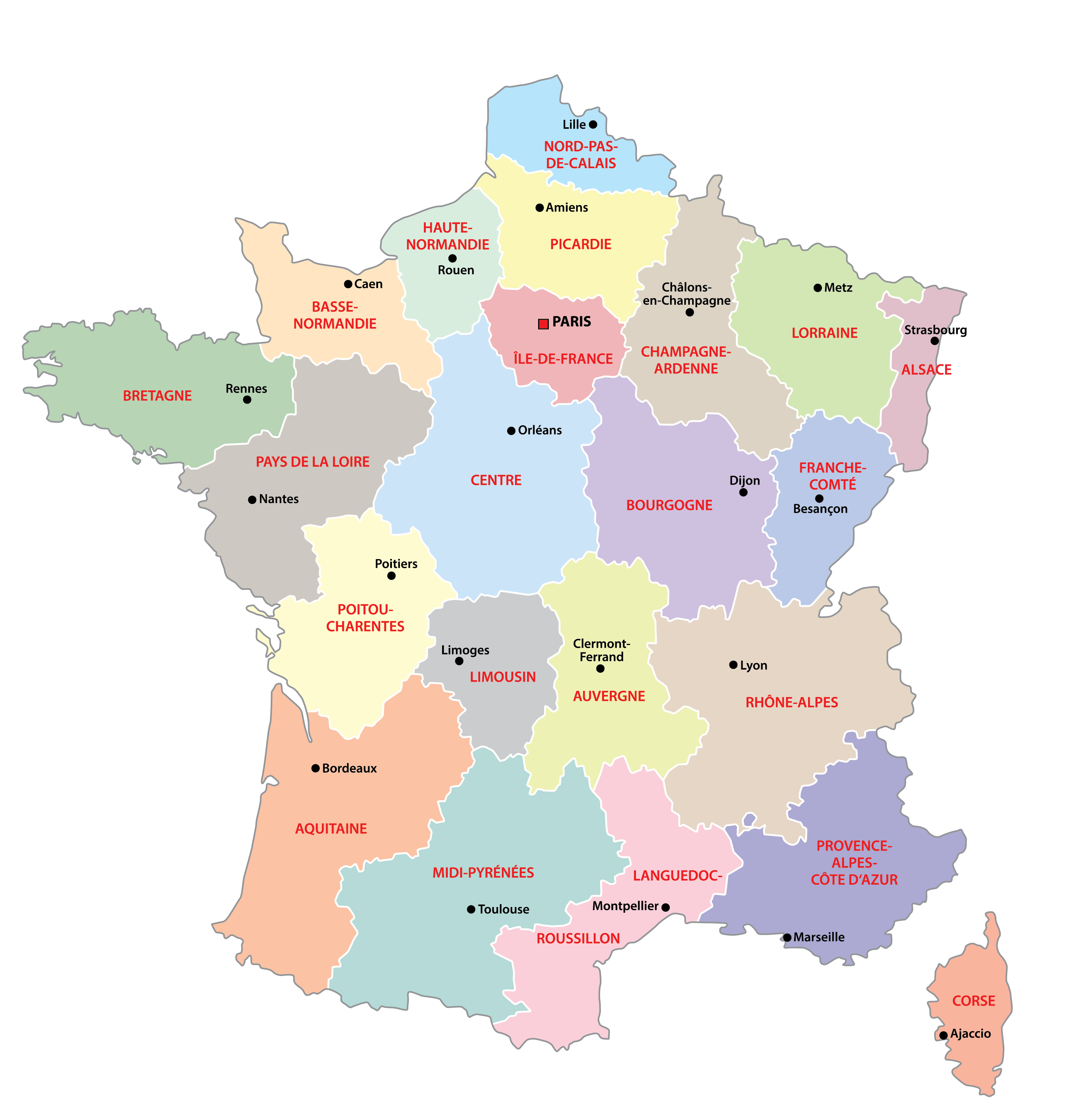 Political Map of France showing its 18 regions and the capital city of Paris.
