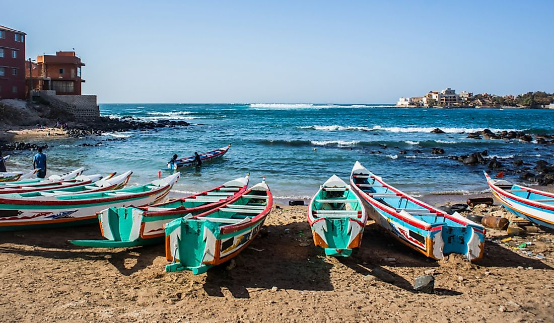 Colorful fishing boats on the Bay of Ngor in Dakar, Senegal.