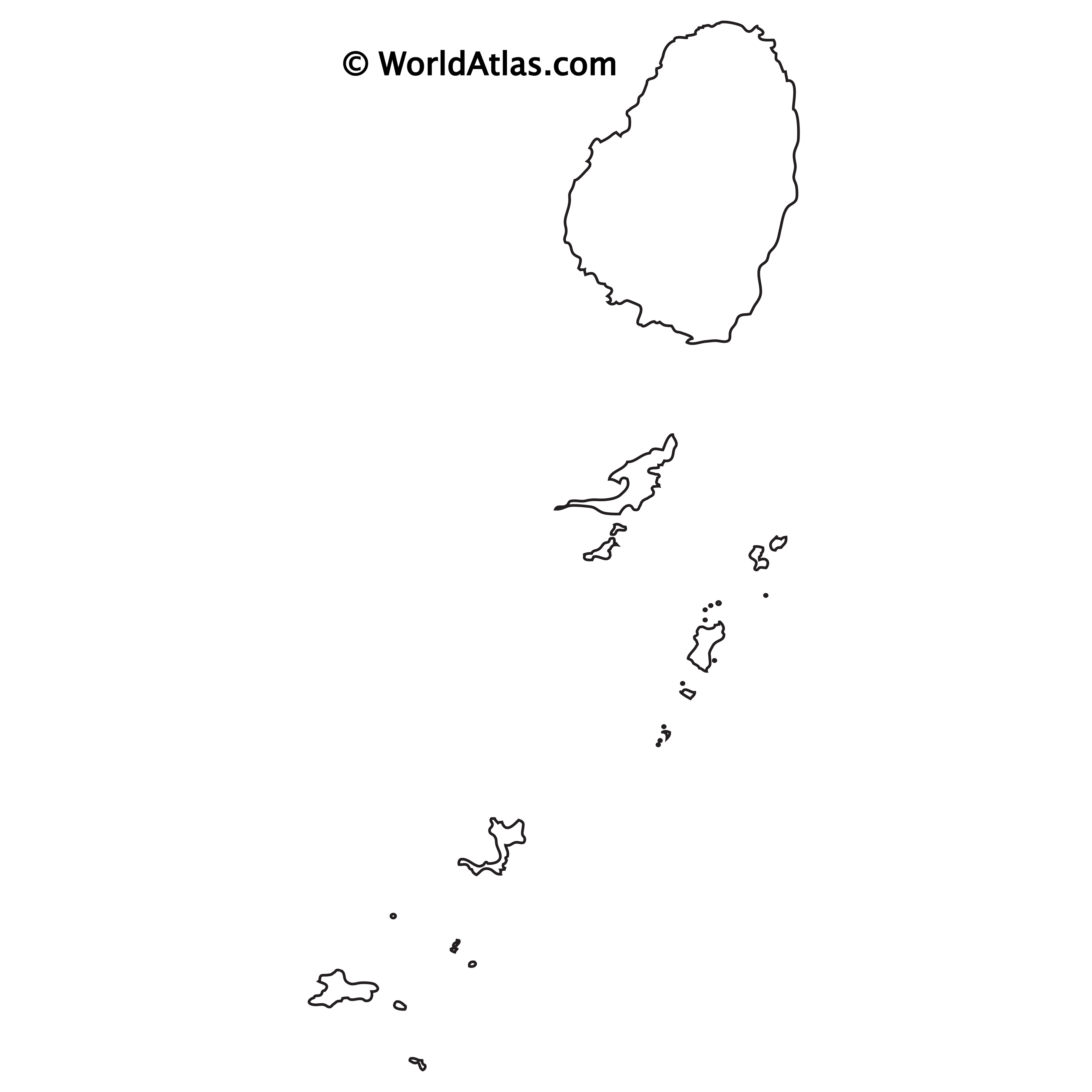 Blank Outline Map of St. Vincent and the Grenadines