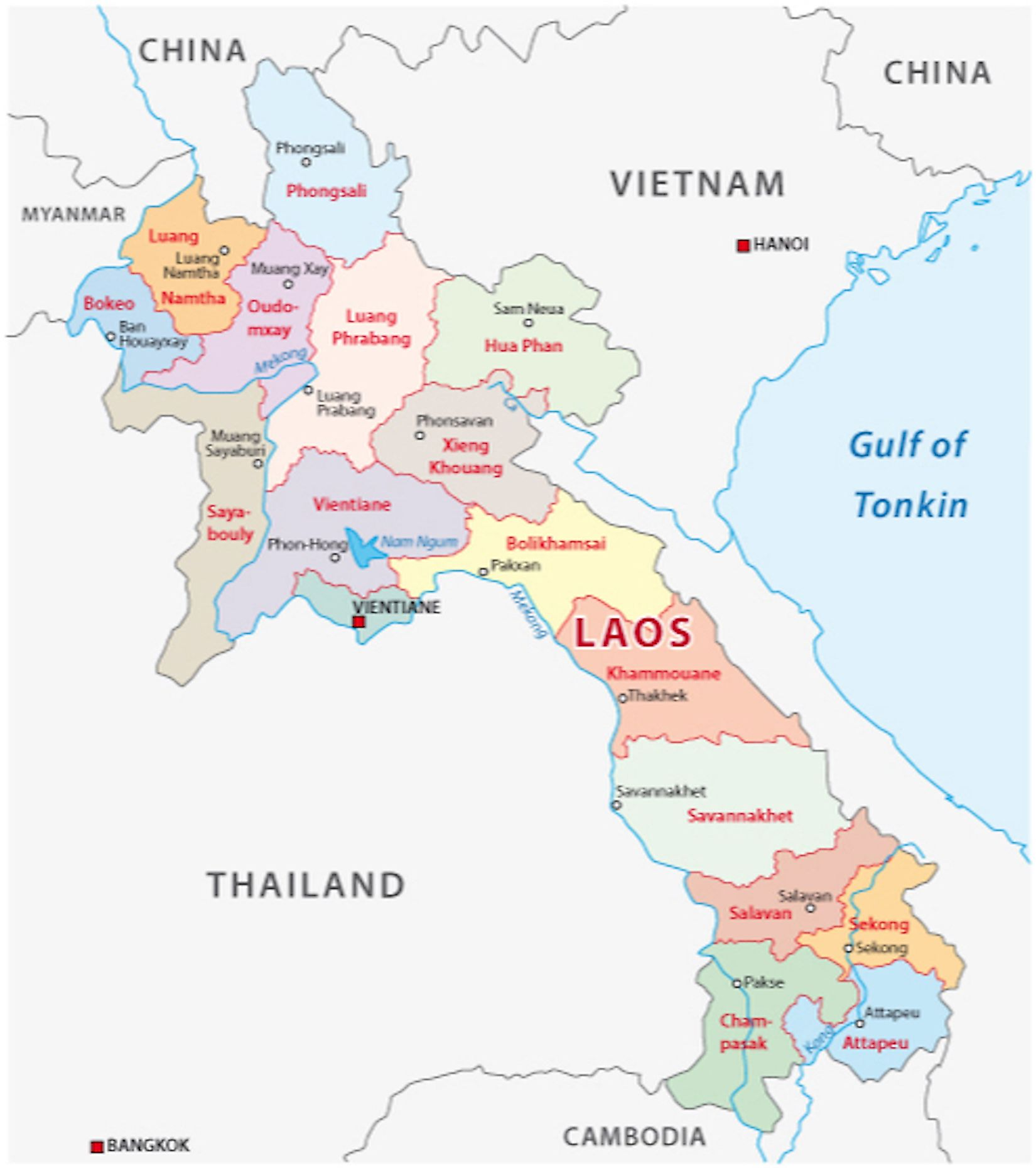 Location Map of Laos showing the 17 provinces, their capitals, and the national capital of Vientiane.