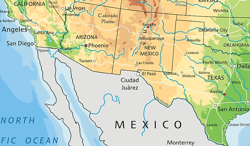 Map Of Arizona To Mexico.Us States That Border Mexico Worldatlas Com