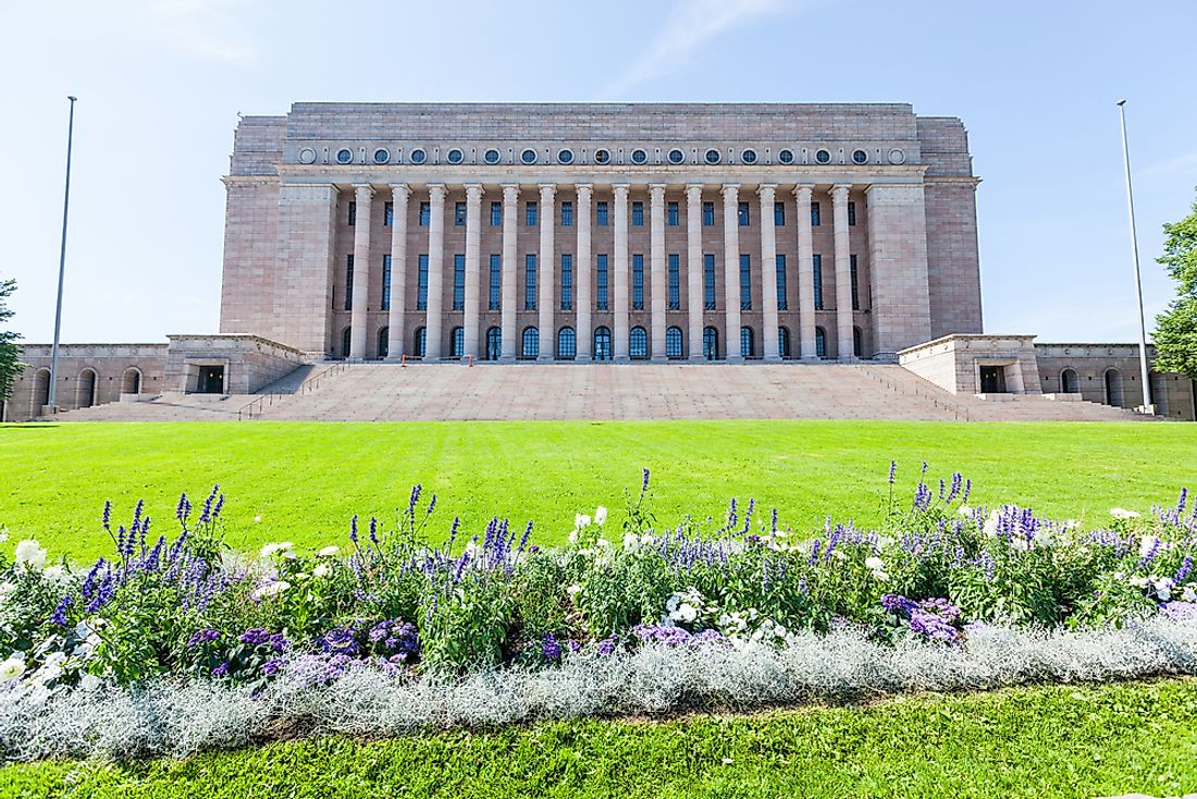 The Finnish Parliament House.