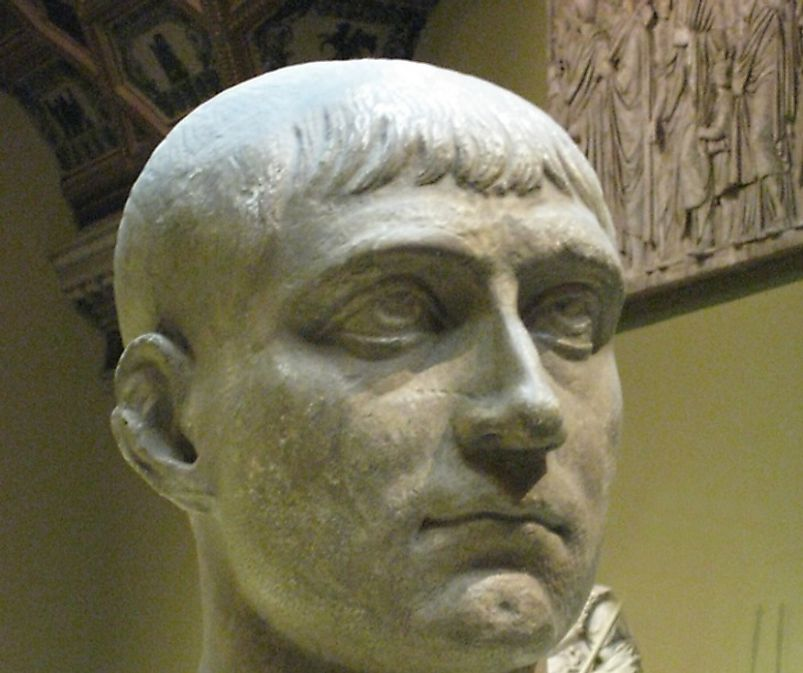 Maxentius (sculptiure pictured) of the Western half of the Roman Empire co-ruled with Diocletian in the East as the empire was split in two.