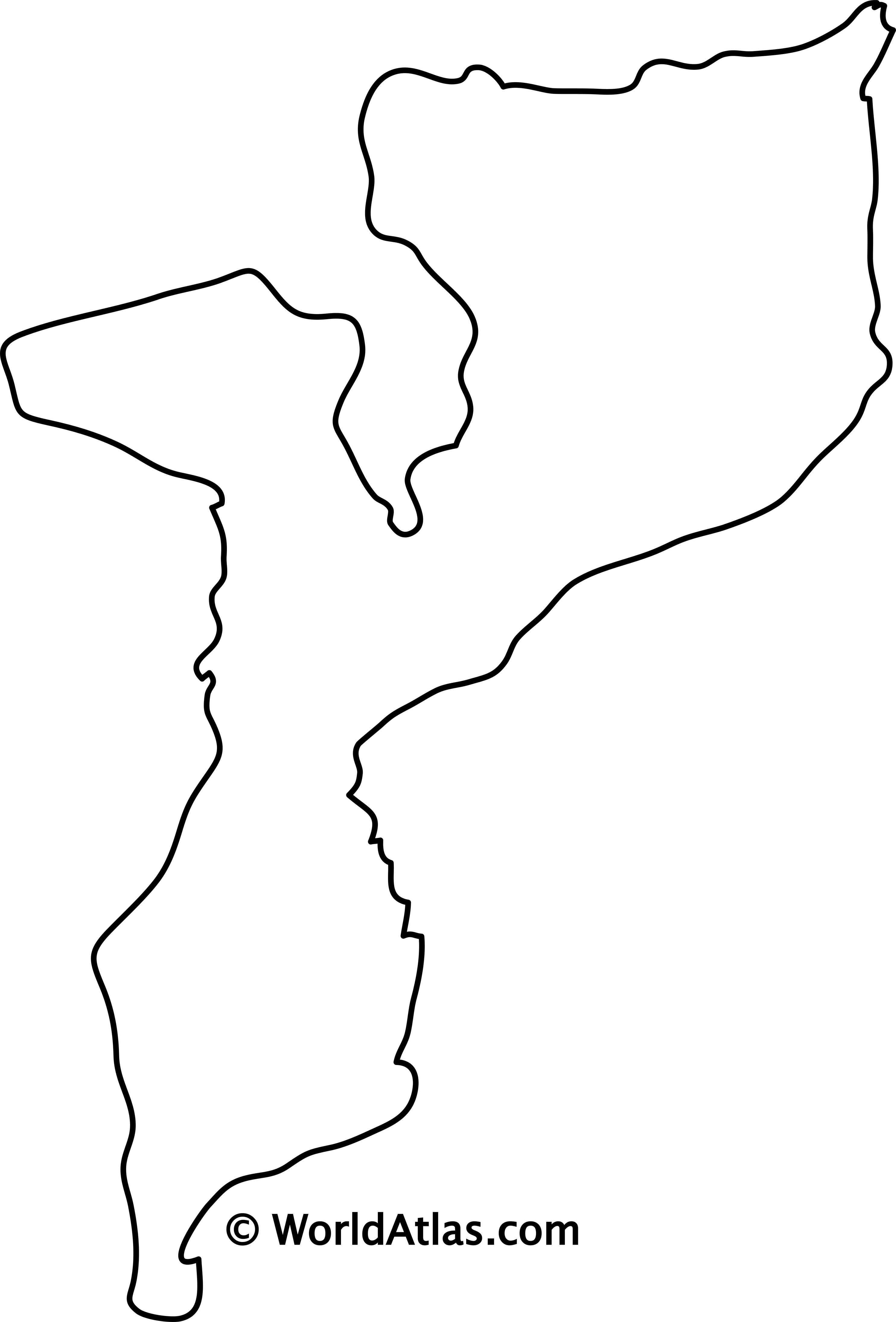 Blank Outline Map of Mozambique