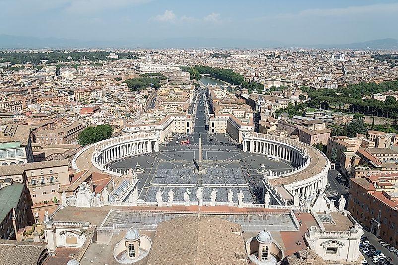 Rooftop view of the Vatican City town square.
