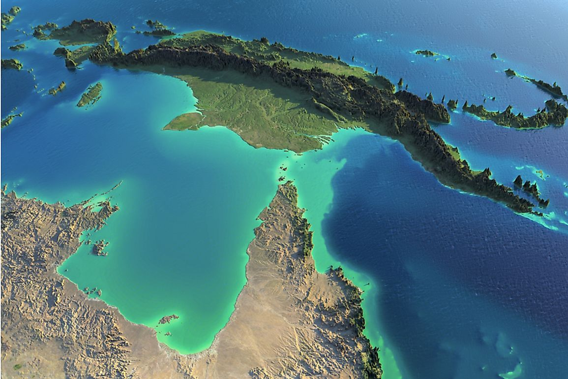 The Arafura Sea sits between northern Australia and the western part of the island of New Guinea.