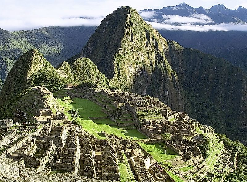 Breathtaking view of Machu Picchu as it sits high in the Peruvian Andes.