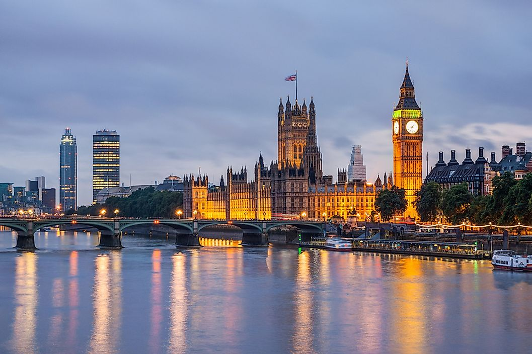 The skyline of London, England at dusk.