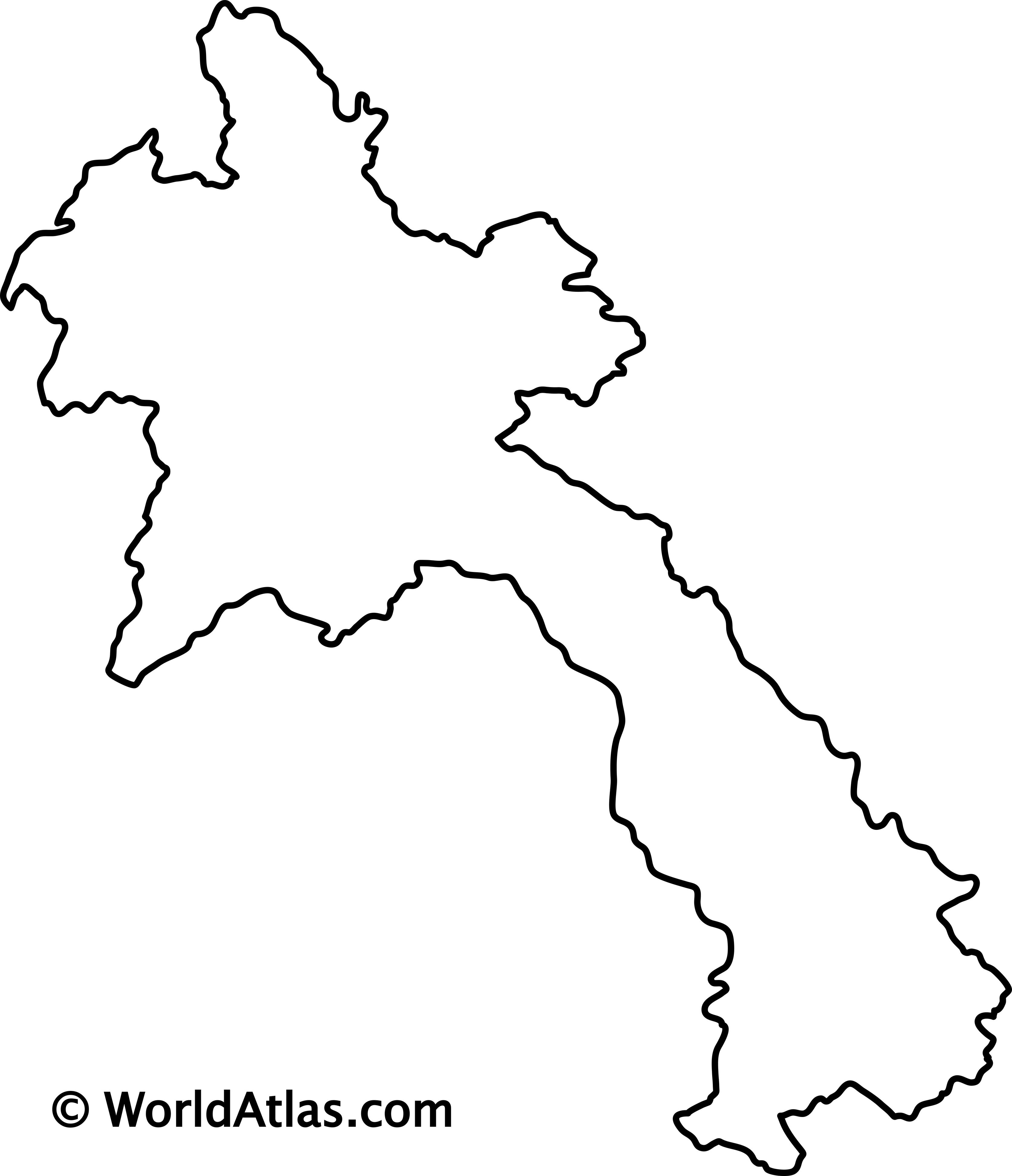 Blank Outline Map of Laos
