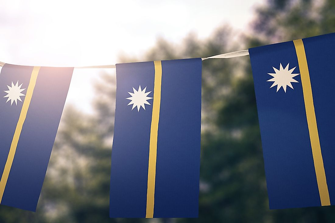 The flag of Nauru features a twelve-pointed star to represent the 12 indigenous tribes.