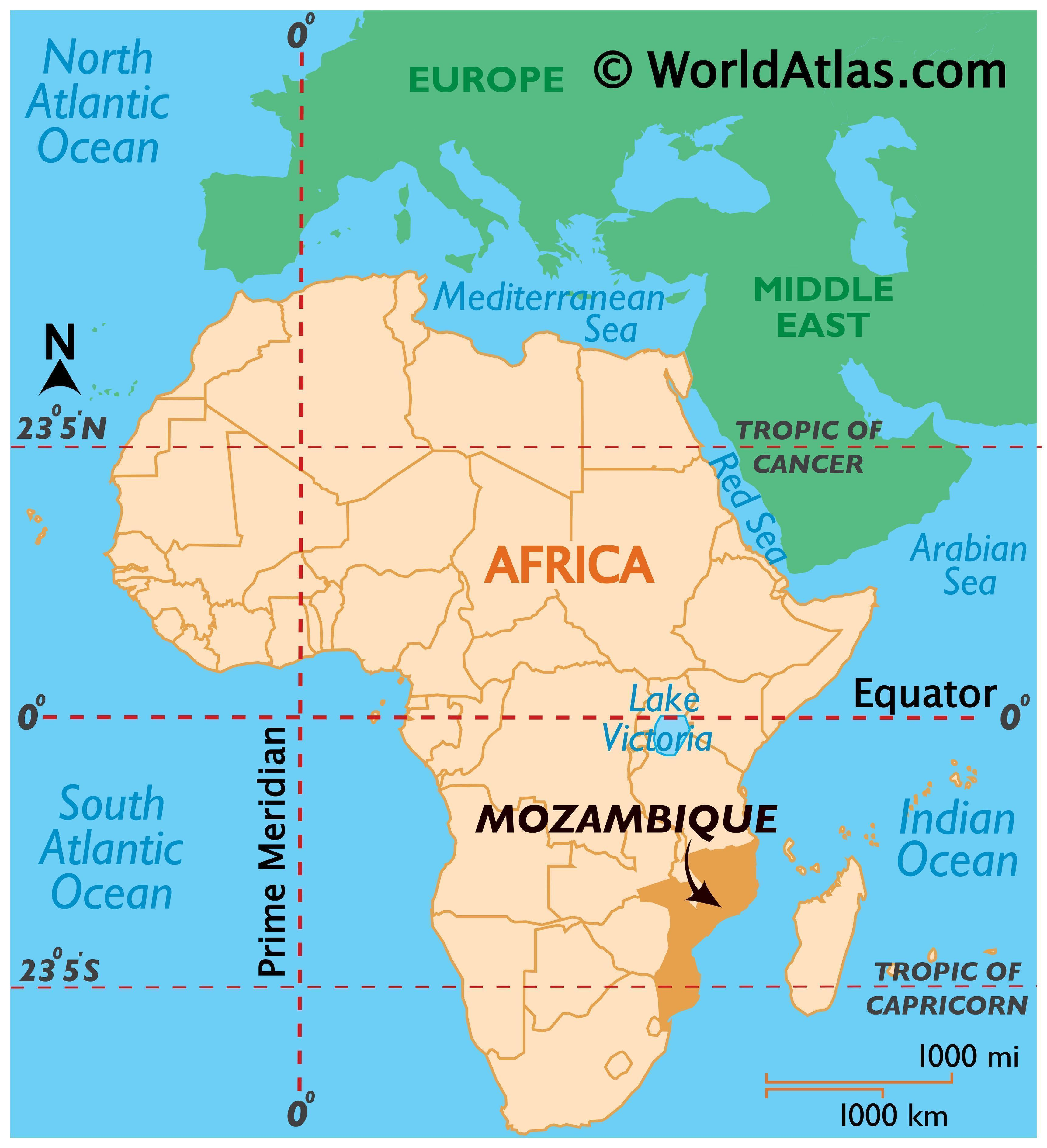 Map showing location of Mozambique in the world.