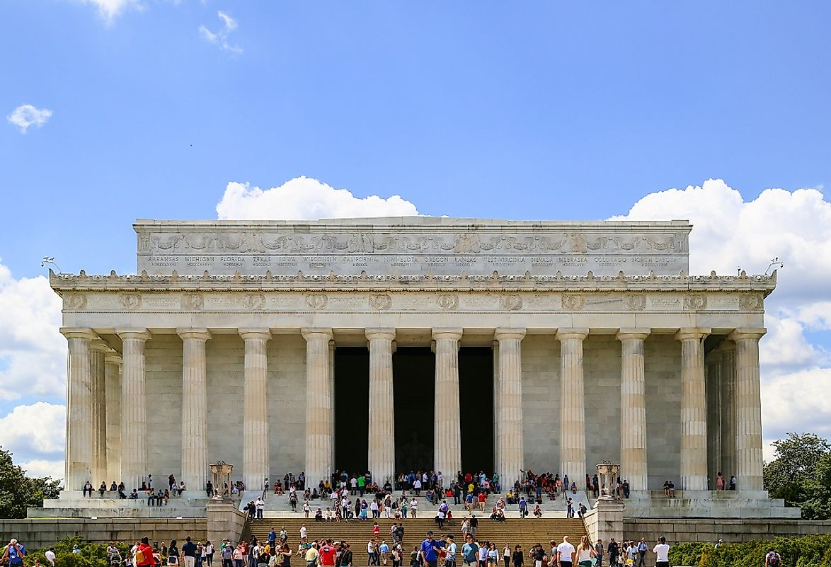 As a sign of unity, the Licoln Memorial was constructed from Marble sourced from all around the United States, built in a Classical architectural style.