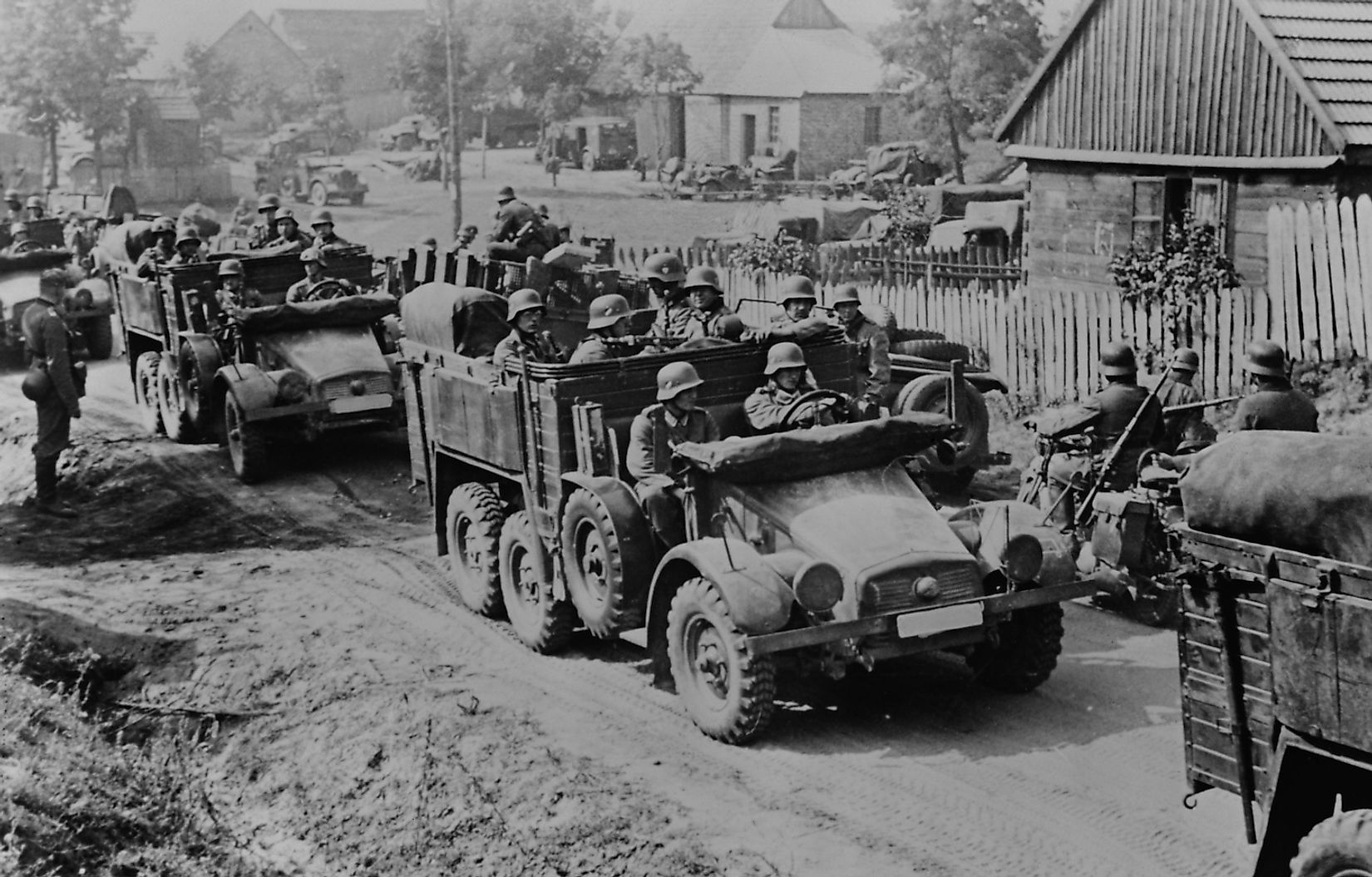 German soldiers invade Poland in armored and motorized divisions in Sept. 1939. It was the beginning of World War 2. in Europe. Image credit: Everett Historical/Shutterstock.com
