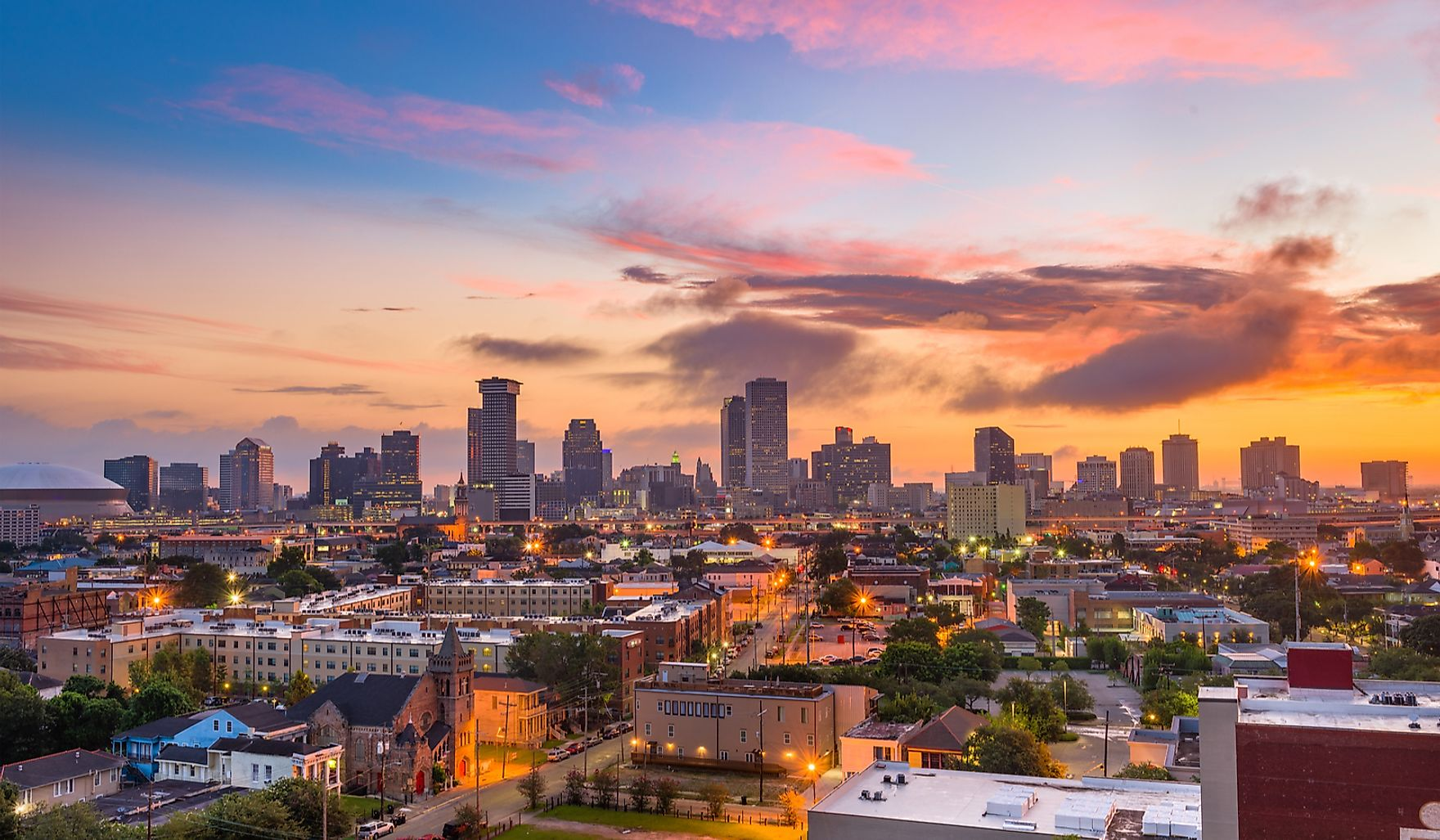 The skyline of New Orleans.