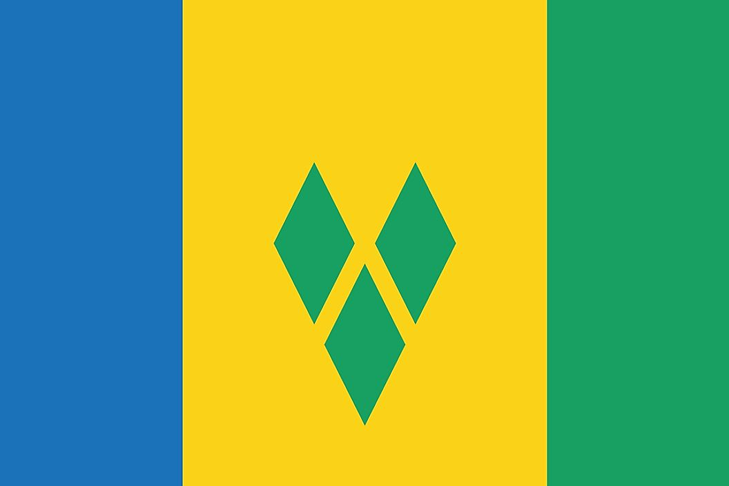 The flag of Saint Vincent and the Grenadines.