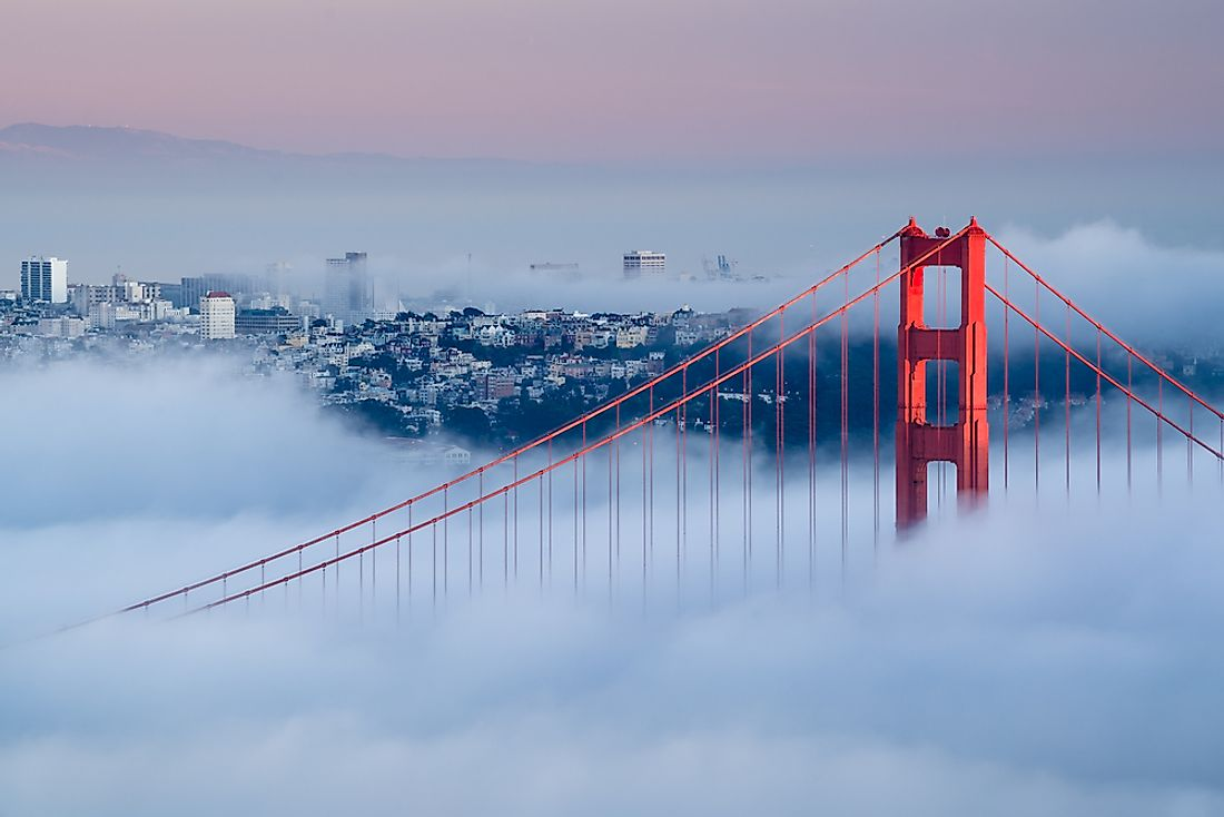 A familiar sight: the Golden Gate Bridge surrounded by fog.