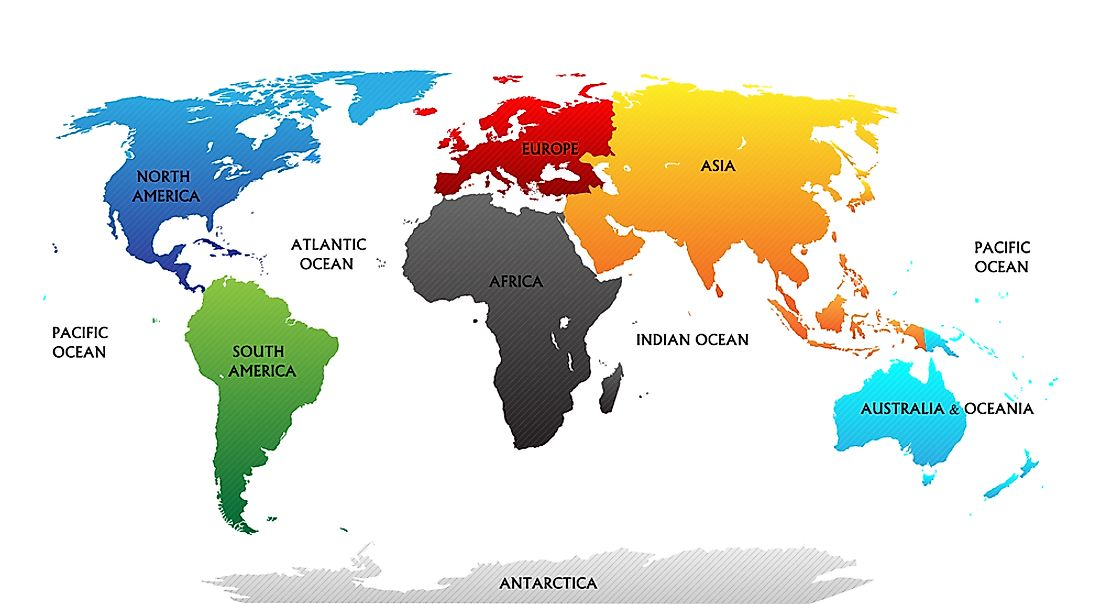 7 continents world map 7 Continents Of The World Worldatlas 7 continents world map