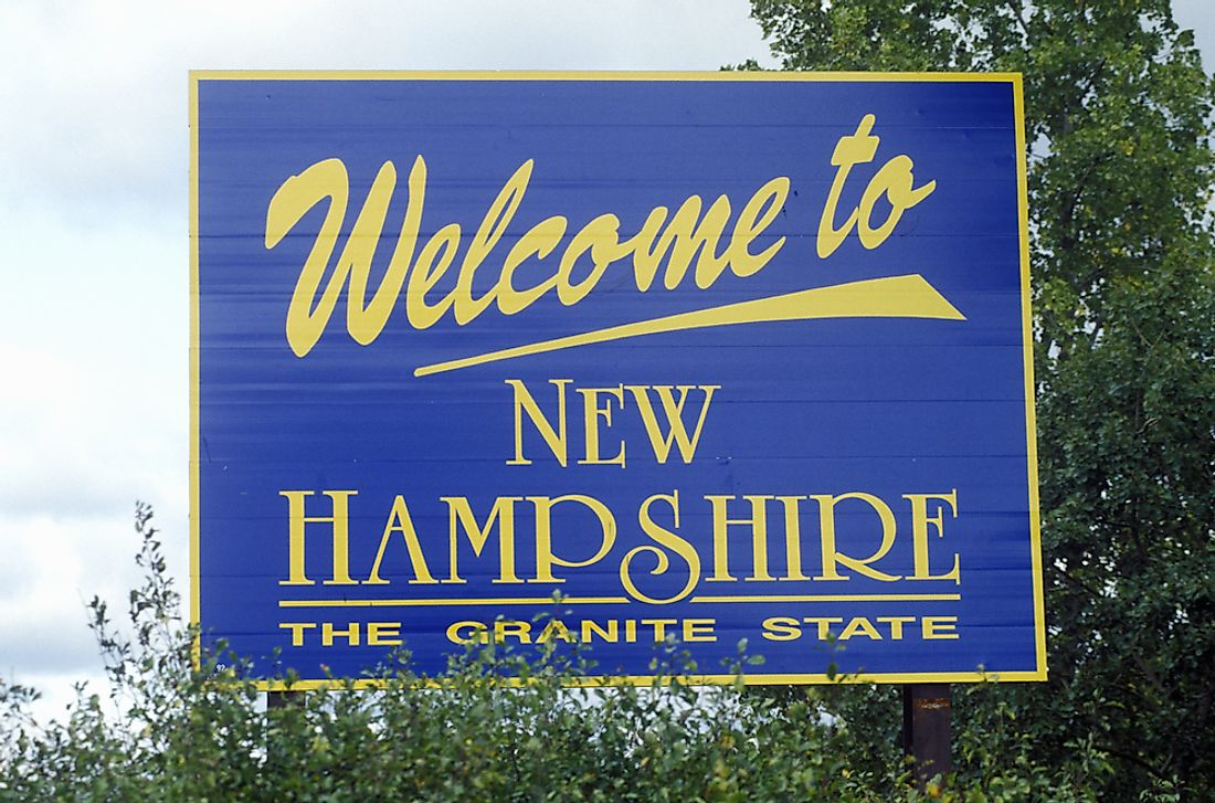 """Welcome to New Hampshire"" sign."