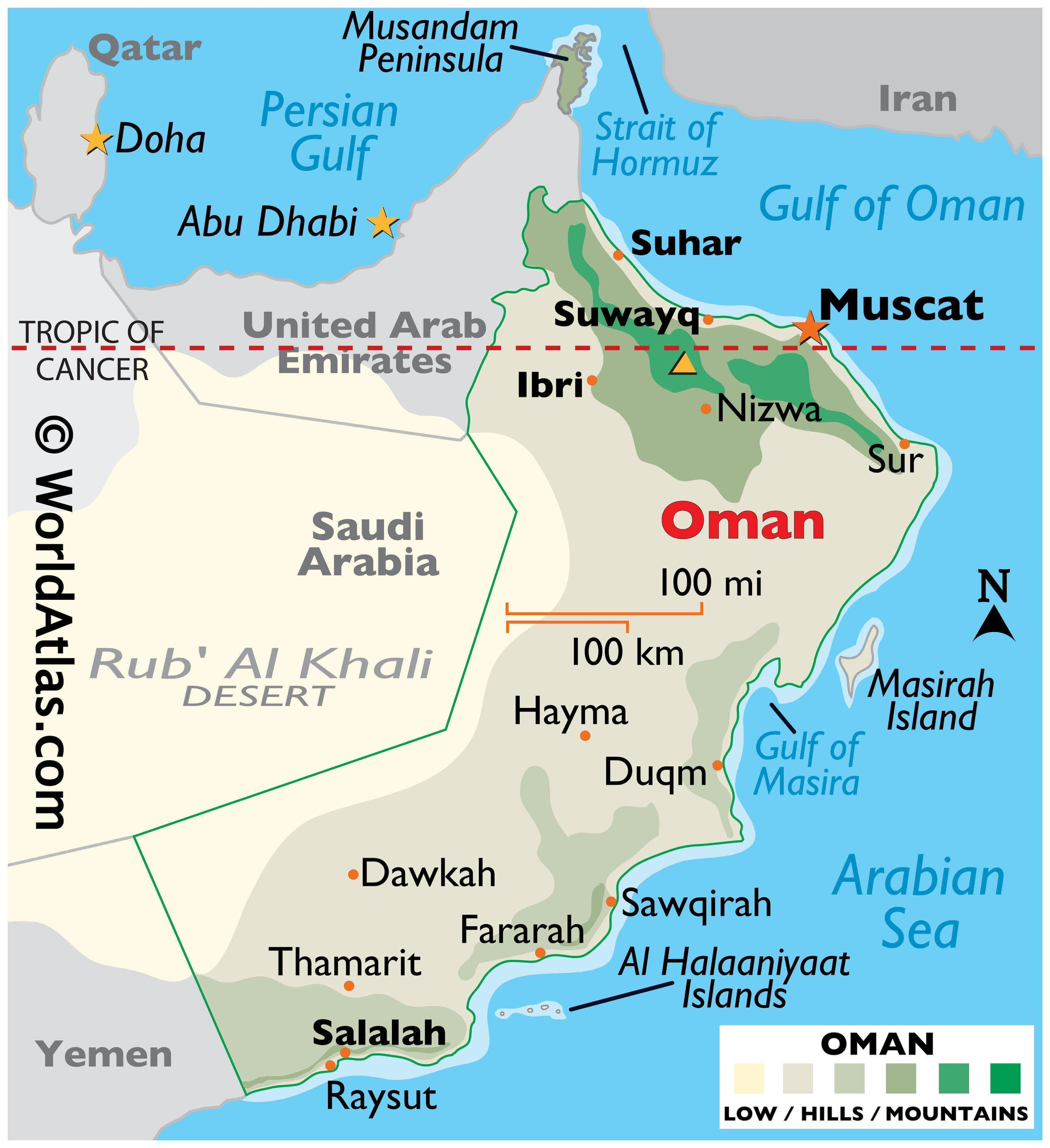 Physical Map of Oman showing state boundaries, relief, highest point, important cities, Musandam Peninsula, islands, etc.