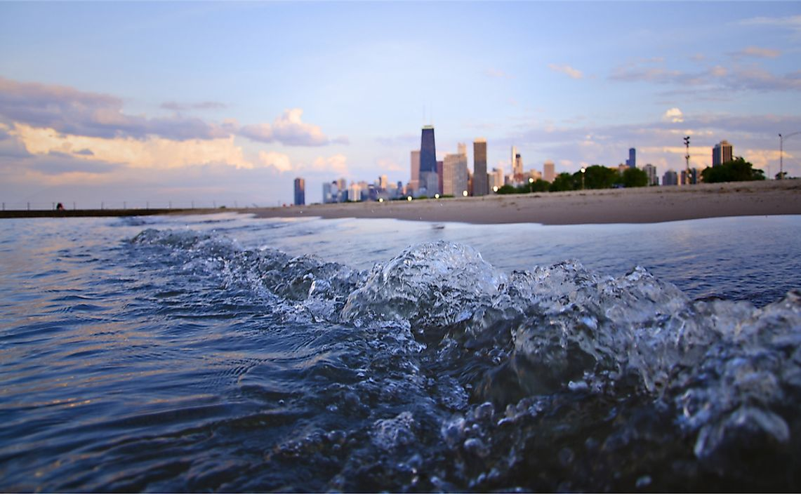 Chicago, Illinois, is located on shores of Lake Michigan.