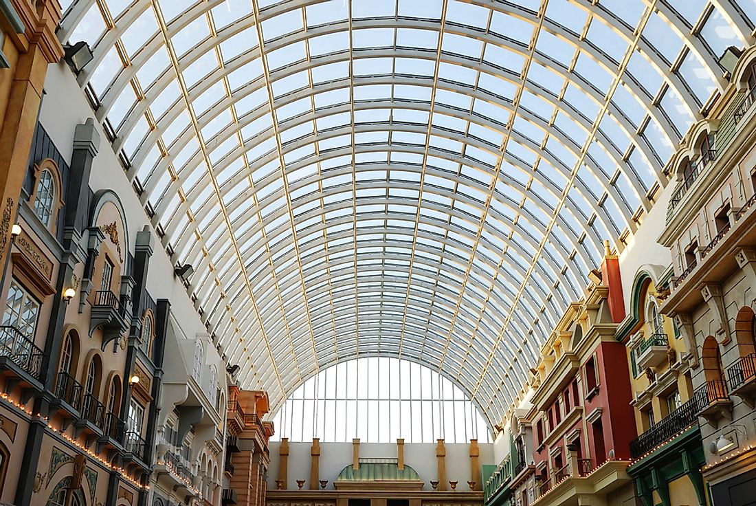 The interior of a section of the large West Edmonton Mall.