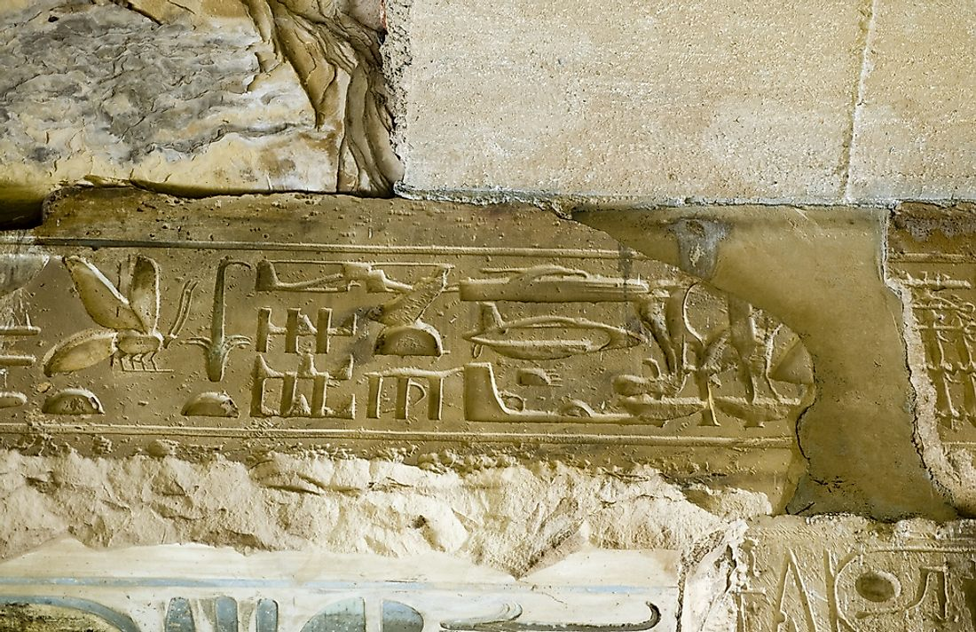 The controversial helicopter hieroglyph is said to depict a helicopter.