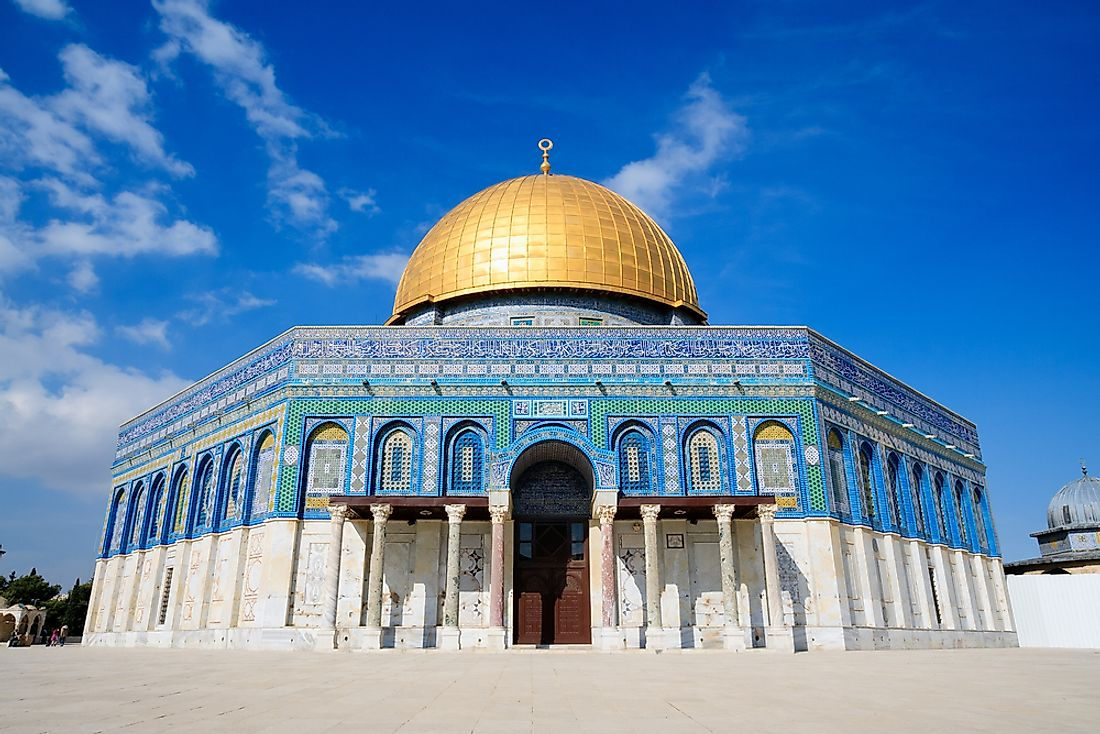 The Dome of the Rock in Jerusalem. This Israeli city is considered holy by three of the world's largest religions (Jews, Muslims, and Christians alike).