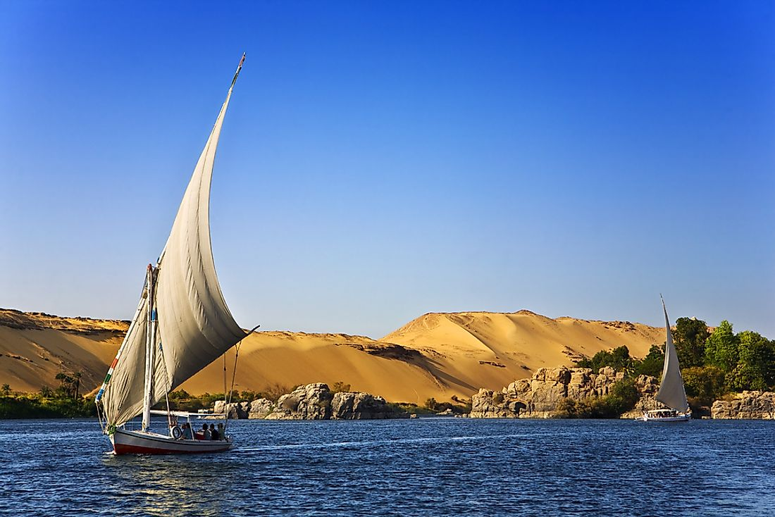 The Nile River, the world's longest, runs through Egypt.