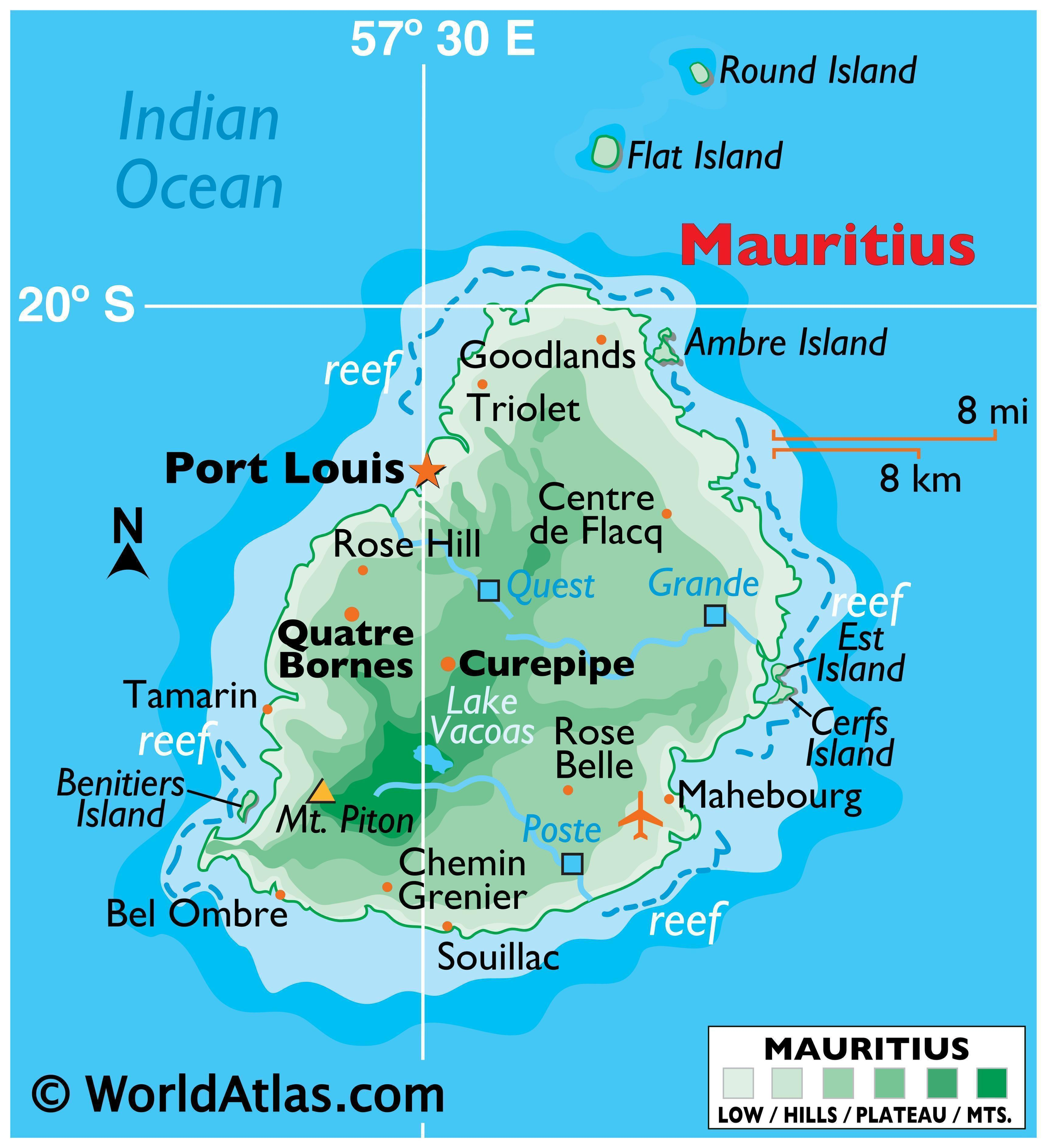 Physical Map of Mauritius showing relief, outlying islands, tallest peak, lakes, major river, and important cities.
