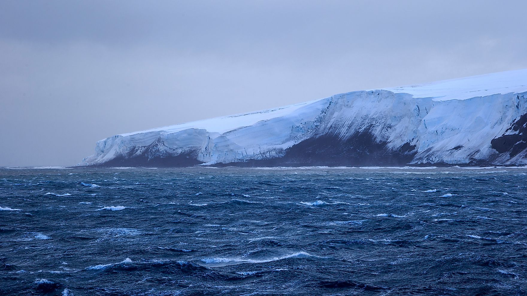 Bouvet Island's ice covered shores.