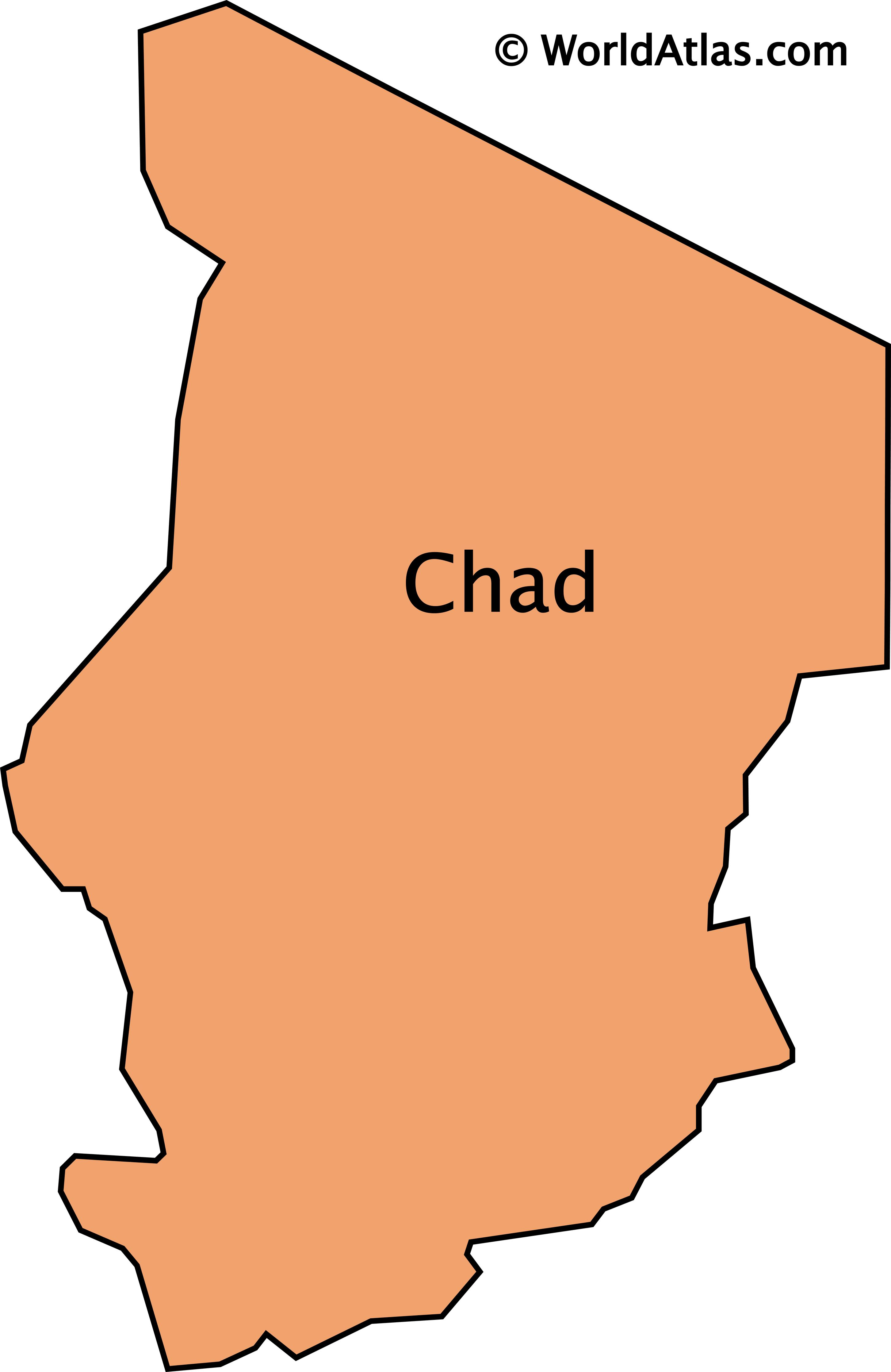 Outline Map of Chad.
