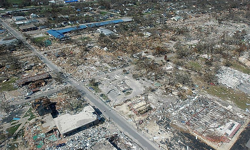 Damage in Long Beach, Mississippi following Hurricane Katrina, a Category 5 hurricane.