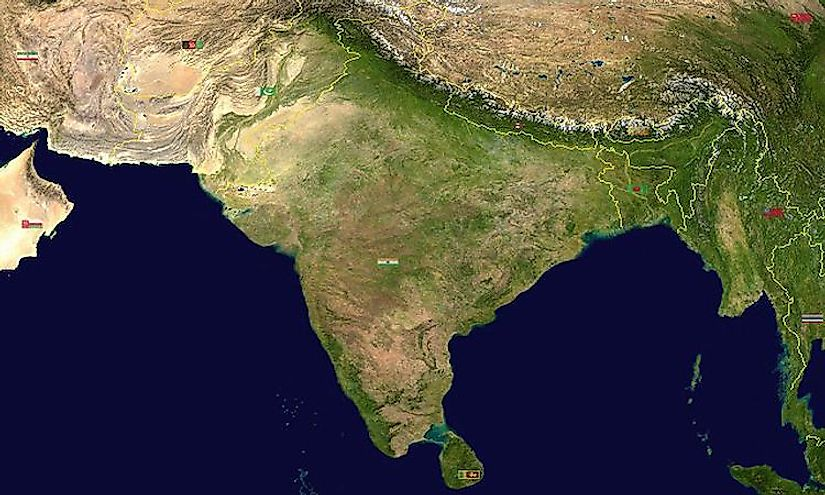 A map showing the Indian subcontinent and its countries.