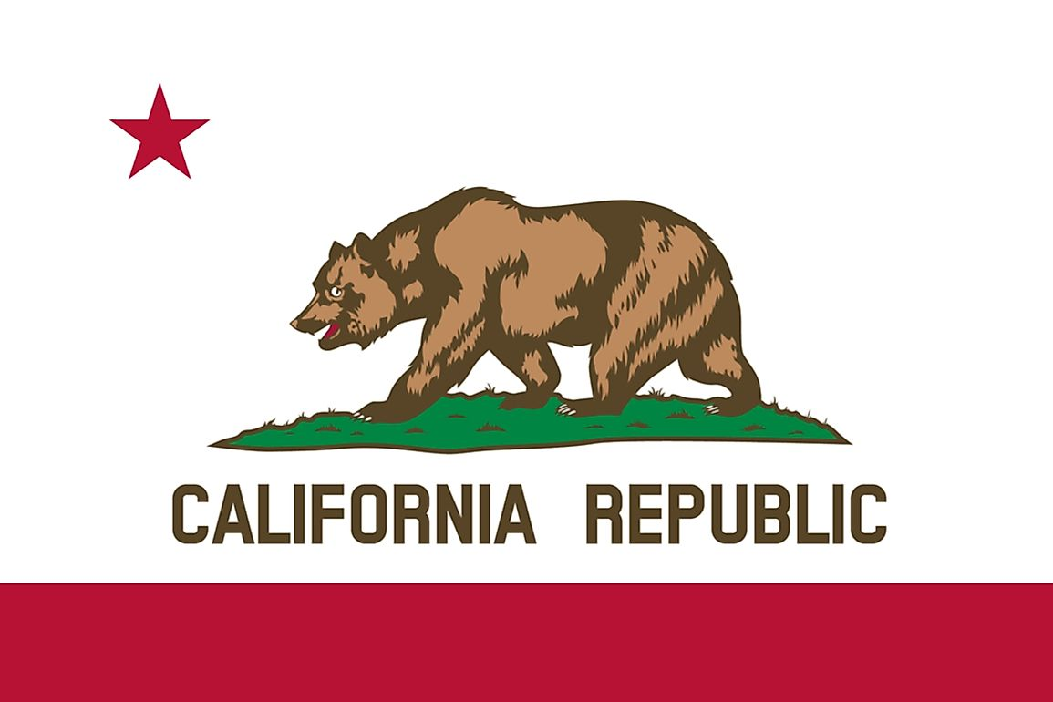 The California state flag features the state animal - the California grizzly bear.