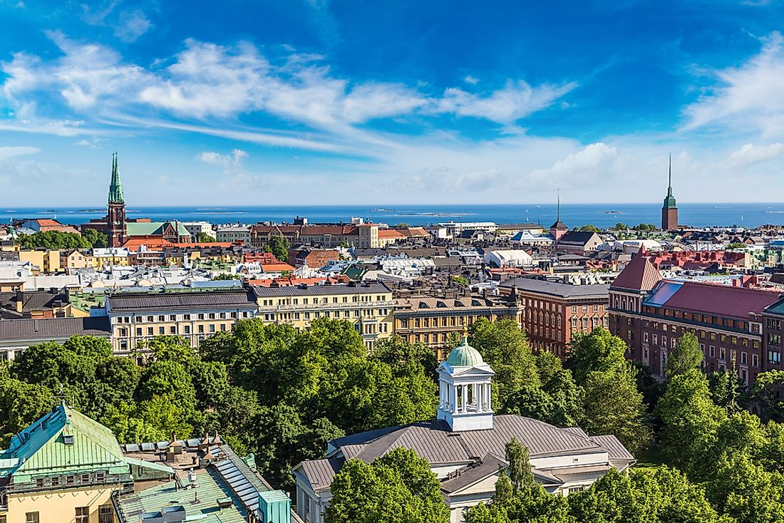 Helsinki, Finland. Finland is an example of a core country.