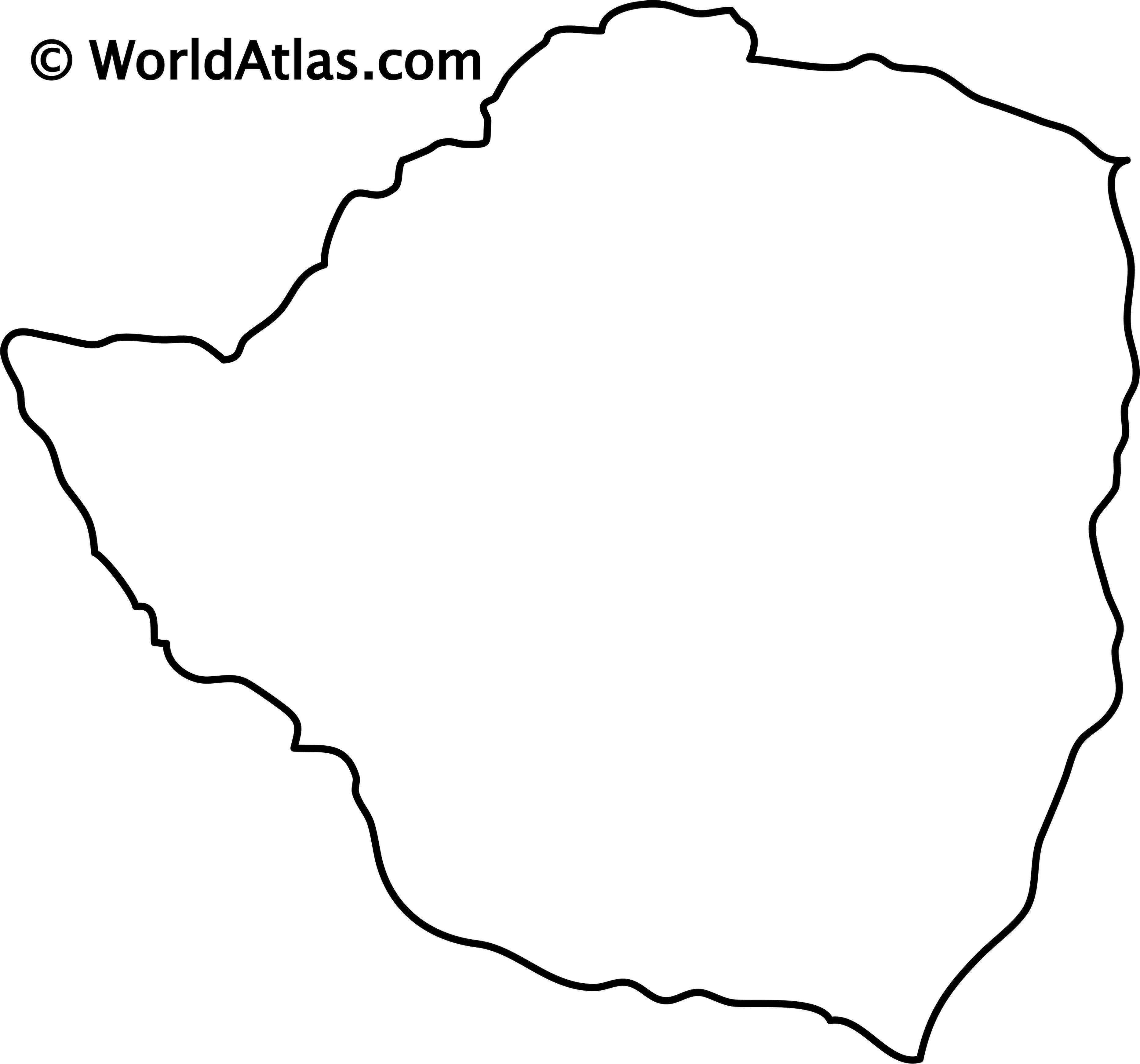 Blank Outline map of Zimbabwe