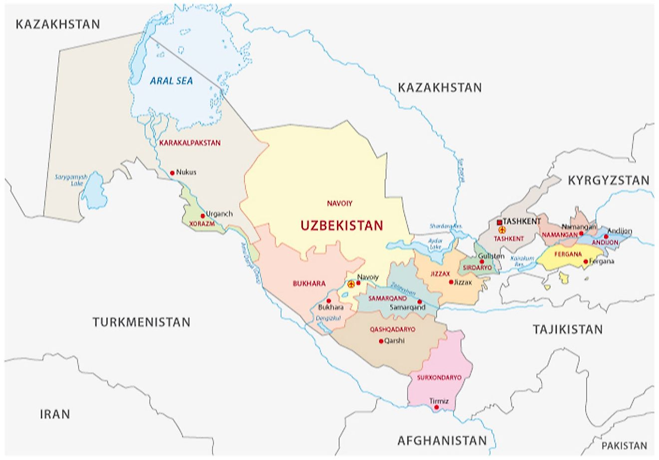Political Map of Uzbekistan displaying the 12 administrative regions, 1 autonomous republic, and 1 independent city.