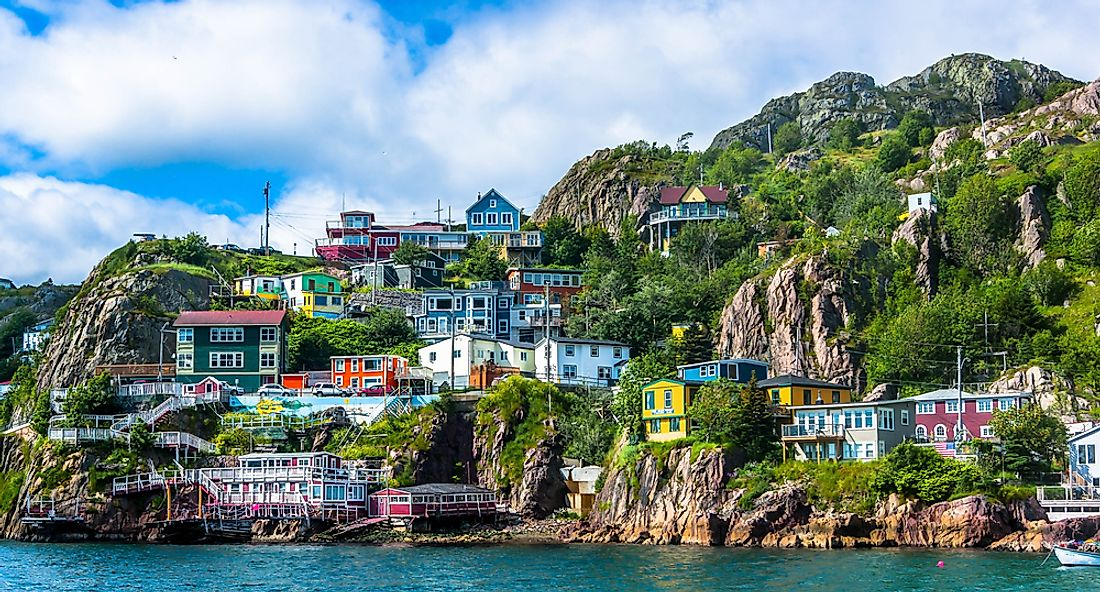 Colorful home dot the steep slopes around St. John's harbour in Newfoundland.