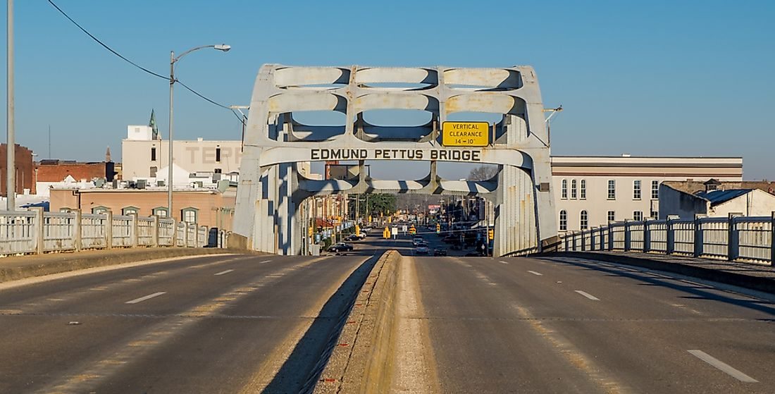 The Edmund Pettus Bridge, site of the Bloody Sunday attack in 1965 in Selma, Alabama