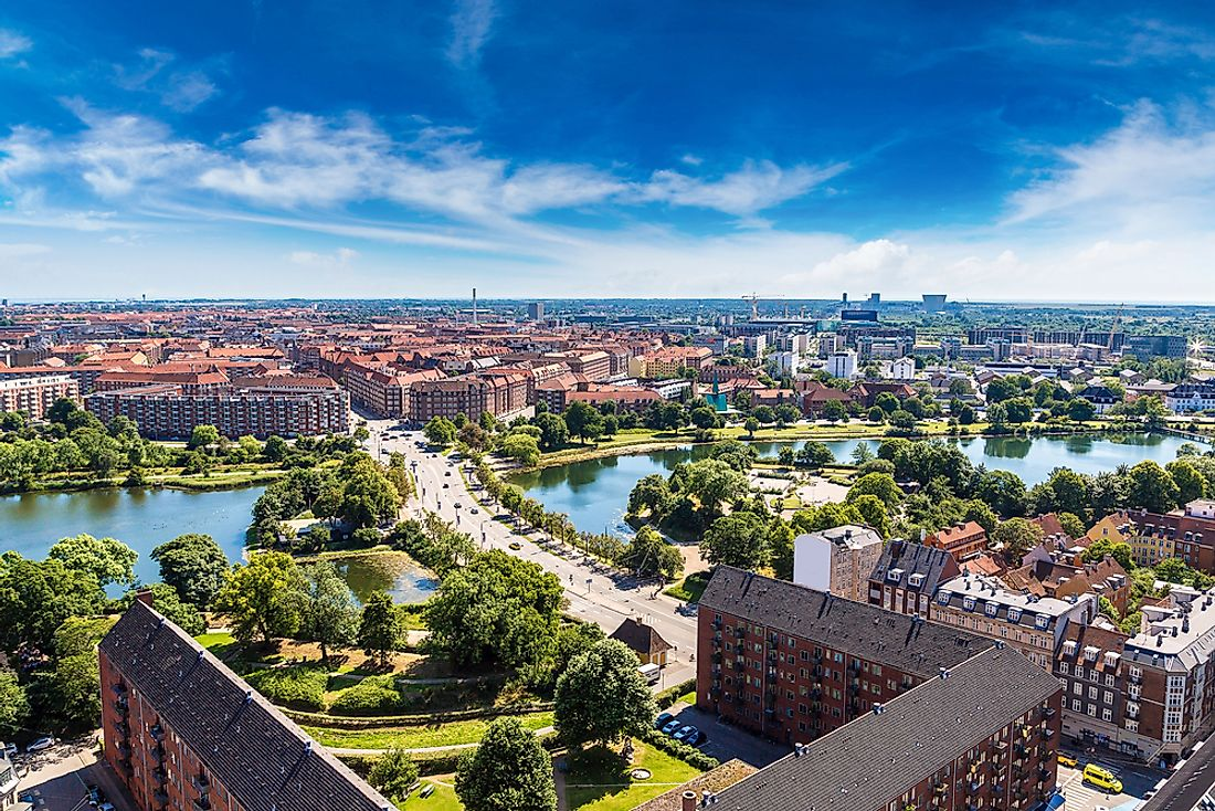 A panoramic view of Copenhagen, Denmark's capital city.
