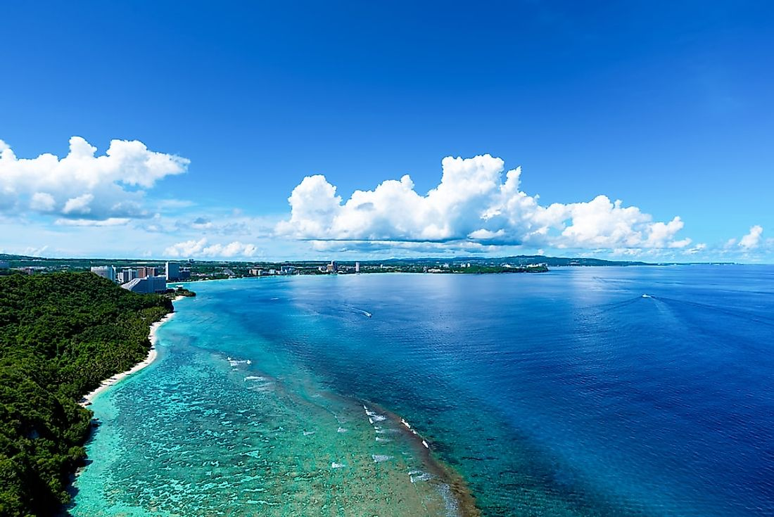 The shoreline of Guam, an American territory in the western Pacific Ocean.