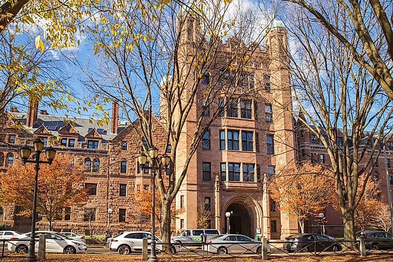 Phelps Hall along College Street in Yale's Old Campus.