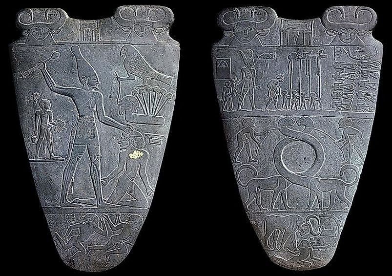 Front and back of the Narmer Palette, depicting Narmer, considered the first king of a unified Ancient Egypt.